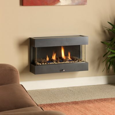 Paragon P6 three sided wall hanging gas fire