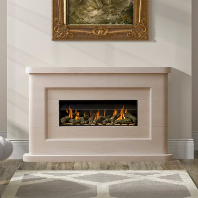 Paragon P7 shown in Portuguese Limestone Malpass surround gas